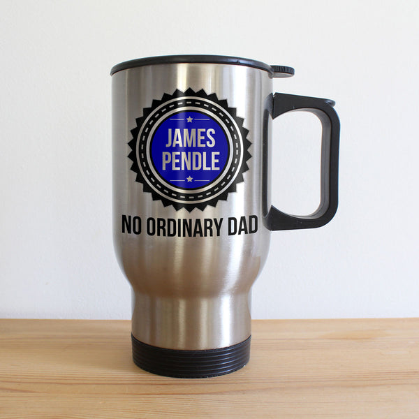 Dad's 'No Ordinary Dad' Personalised Silver Travel Mug