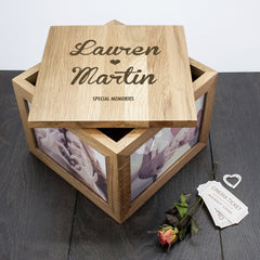Couple's Personalised Oak Photo Keepsake Box With Name & Heart - Luxe Gift Store