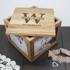 Couple's Personalised Oak Photo Keepsake Box with Monogram - Luxe Gift Store