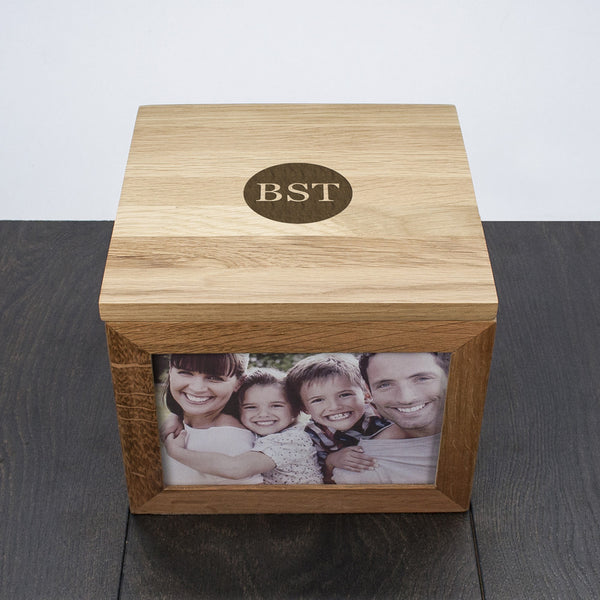 Oak Photo Keepsake Box Personalised with Initials - Circle, Heart or Diamond