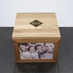 Oak Photo Keepsake Box Personalised with Initials - Circle, Heart or Diamond - Luxe Gift Store - 2