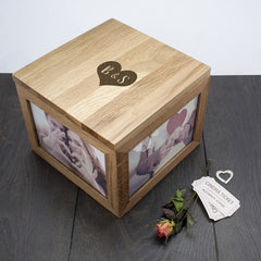 Oak Photo Keepsake Box Personalised with Initials - Circle, Heart or Diamond - Luxe Gift Store - 3