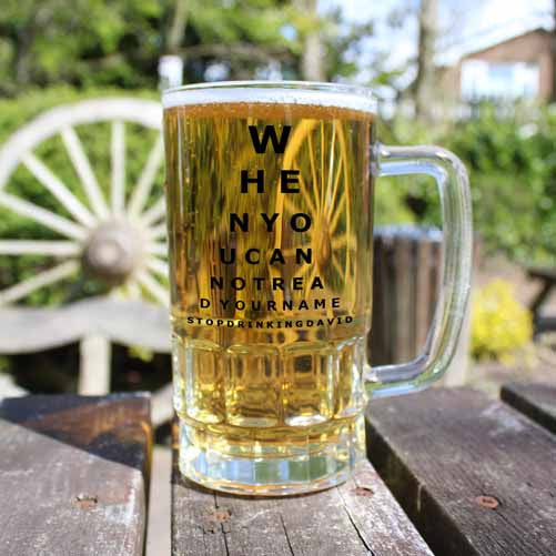 Opticians Chart Personalised Beer Glass Tankard