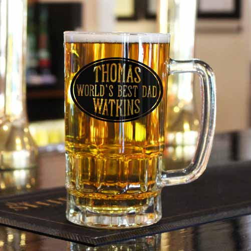 Dad's Oval Design Personalised Beer Glass Tankard
