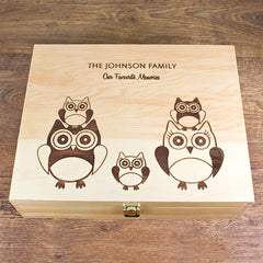 Owl Family Personalised Memory Box - Luxe Gift Store