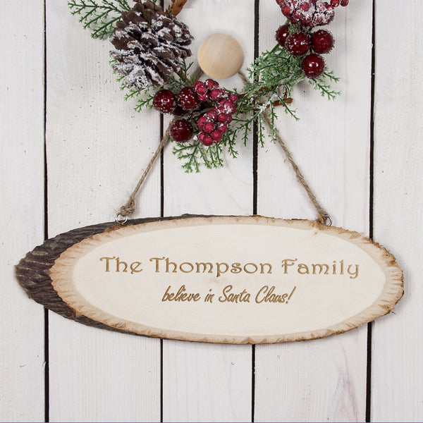 'We Believe In Christmas' Personalised Wooden Sign