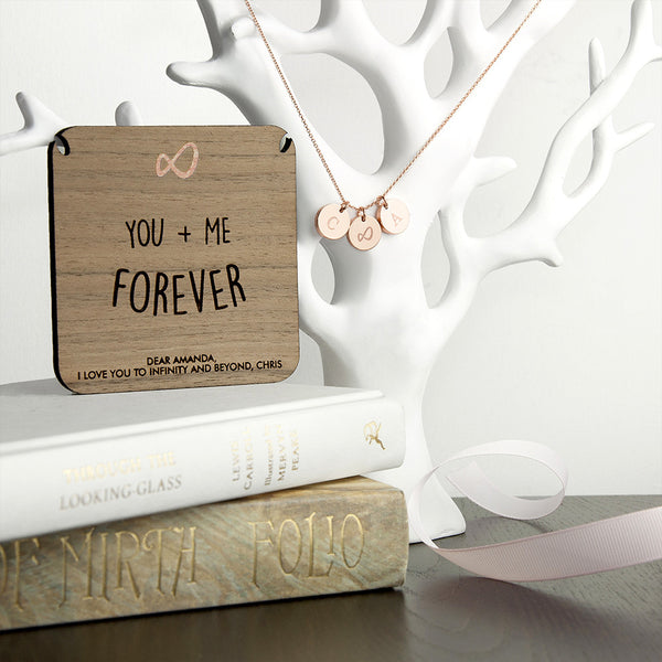'You + Me Forever' Personalised Necklace - Rose Gold or Gold