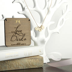 'Love Birds' Personalised Necklace - Gold - Luxe Gift Store