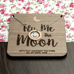 Romantic 'Fly Me To The Moon' Necklace -Gold & Silver or Rose Gold & Silver - Luxe Gift Store - 4