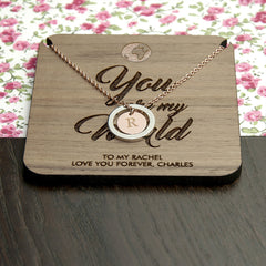 'You Are My World' Personalised Necklace - Rose Gold & Silver (Shown) or Gold & Silver - Luxe Gift Store