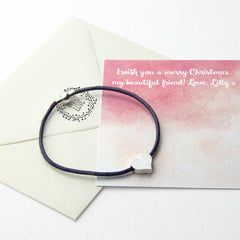 Heart Friendship Personalised Bracelet Multicoloured (Purple Shown) - Luxe Gift Store