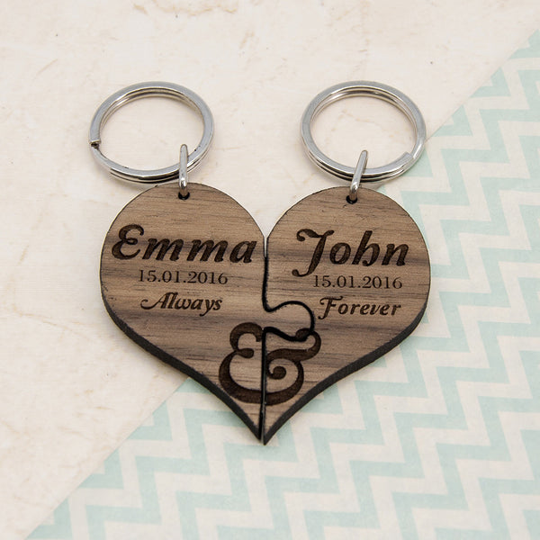 Couple's 'Always & Forever' Personalised Heart Jigsaw Keyring