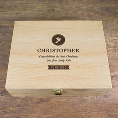 Christening Personalised Memory Box - Dove or Cross Design - Luxe Gift Store