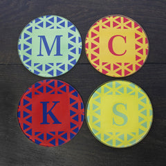 Set of Four Personalised Glass Coasters - Vibrant Design -  - 4