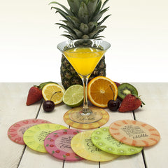 'Get Me A Cocktail' Personalised Round Glass Coaster - Multi coloured - Luxe Gift Store