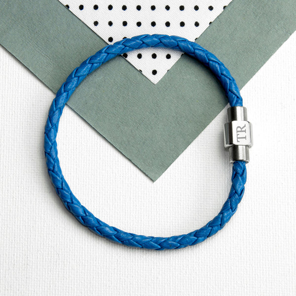 Woven Leather Personalised Bracelet - Cobalt Blue Shown