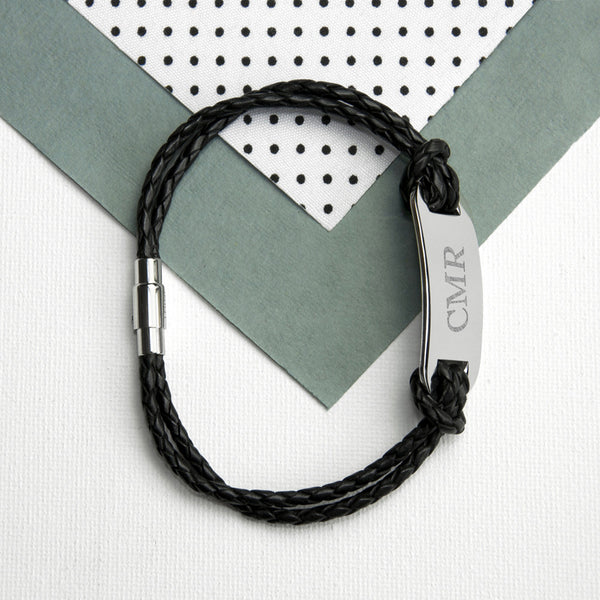 Statement Leather Personalised Bracelet - Black Shown