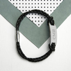 Statement Leather Personalised Bracelet - Black Shown - Luxe Gift Store