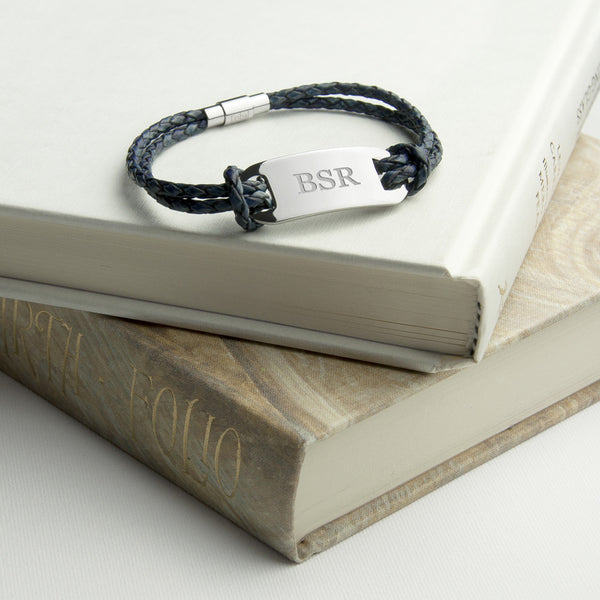 Statement Leather Personalised Bracelet - Navy Shown