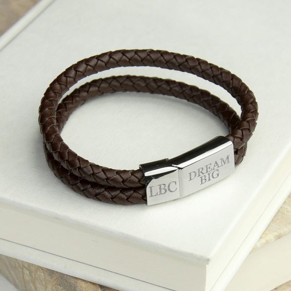 Leather Dual Woven Personalised Bracelet - Brown Shown