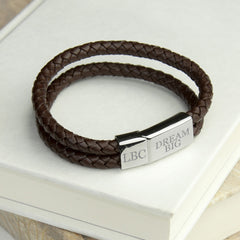Leather Dual Woven Personalised Bracelet - Teal, Brown or Black - Luxe Gift Store - 3