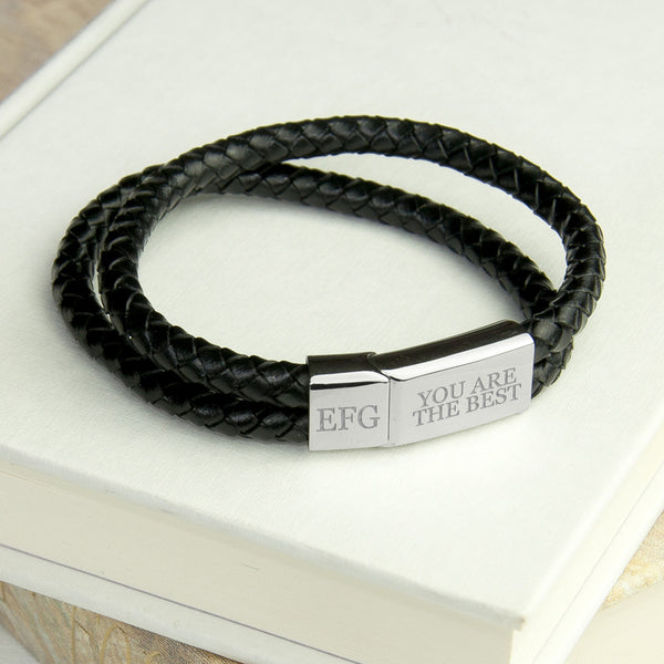 Leather Dual Woven Personalised Bracelet - Black Shown