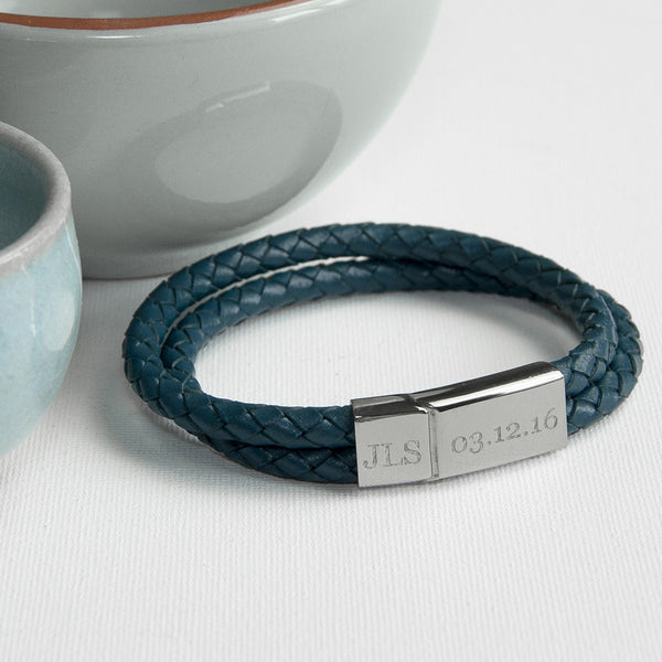 Leather Dual Woven Personalised Bracelet - Teal Shown