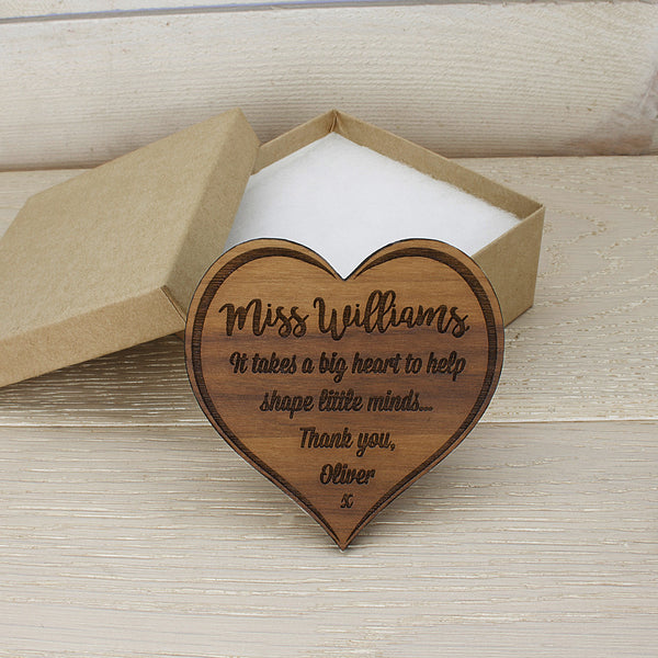 Teacher's Personalised Heart Shaped Wooden Fridge Magnet