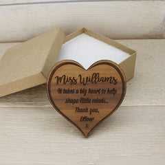 Teacher's Personalised Heart Shaped Wooden Fridge Magnet - Luxe Gift Store
