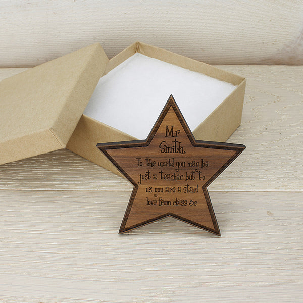 Teacher's Personalised Walnut Wood Star Fridge Magnet