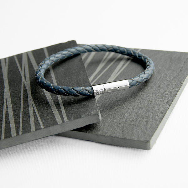 Leather Capsule Personalised Bracelet - Aegean Blue Shown