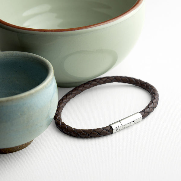 Leather Capsule Personalised Bracelet - Cedar Brown Shown