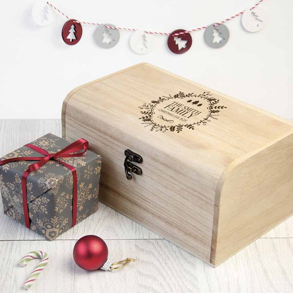 Family's Christmas Traditional Personalised Wooden Chest