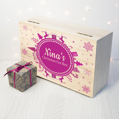 Christmas Snowflake Personalised Wooden Box - Purple Shown