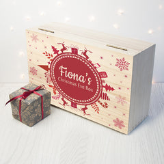 Christmas Snowflake Personalised Wooden Box - Red Shown - Luxe Gift Store