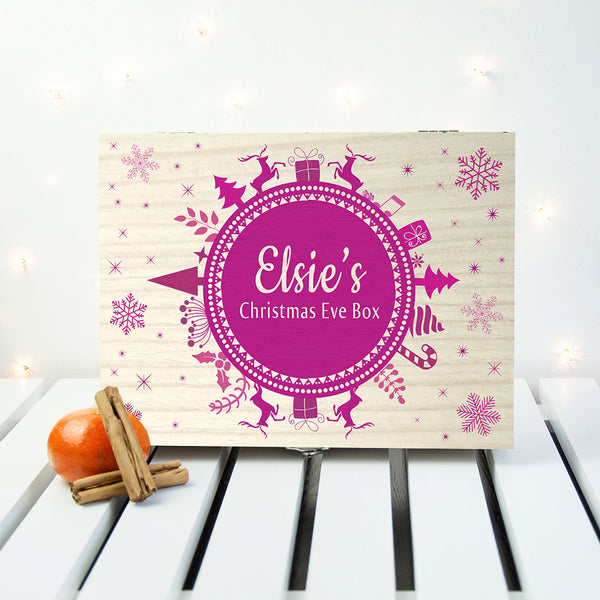 Christmas Snowflake Personalised Wooden Box - Pink Shown