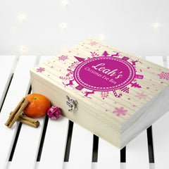 Christmas Snowflake Personalised Wooden Box - Red Shown