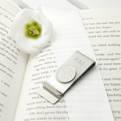 Men's Personalised Silver Plated Lucky Sixpence Money Clip - Luxe Gift Store