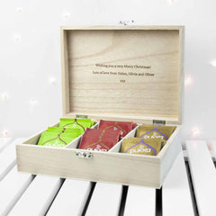 Vibrant Personalised Wooden Tea Box - Multicoloured