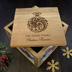 Family Christmas Personalised Memory Box Bauble Design - Luxe Gift Store