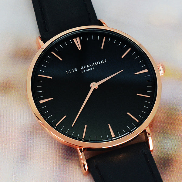 Black Leather Elie Beaumont Personalised Watch In Modern Vintage Style - Black Dial