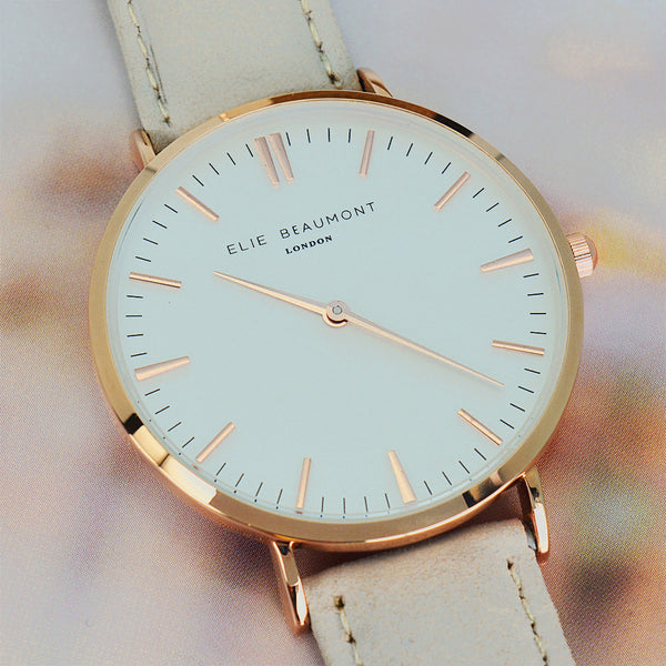 Stone Coloured Leather Elie Beaumont Personalised Watch Modern Vintage Style - White Dial