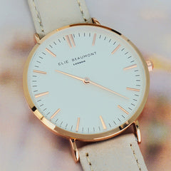 Stone Coloured Leather Elie Beaumont Personalised Watch Modern Vintage Style - White Dial - Luxe Gift Store