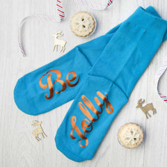 Christmas Day Personalised Socks - Turquoise and Orange - Luxe Gift Store