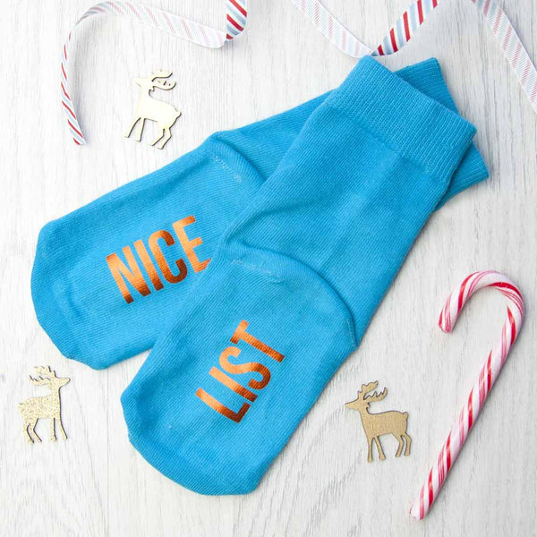 Kids Personalised Christmas Day Socks  - Turquoise and Orange