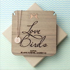 'Love Birds' Personalised Single Charm Necklace - Rose Gold (Shown), Gold or Silver - Luxe Gift Store