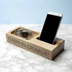 Mobile Phone Personalised Oak Stand for Him