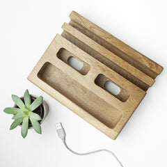 Mobile Phone & Tablet Oak Personalised Holder for Him - Luxe Gift Store