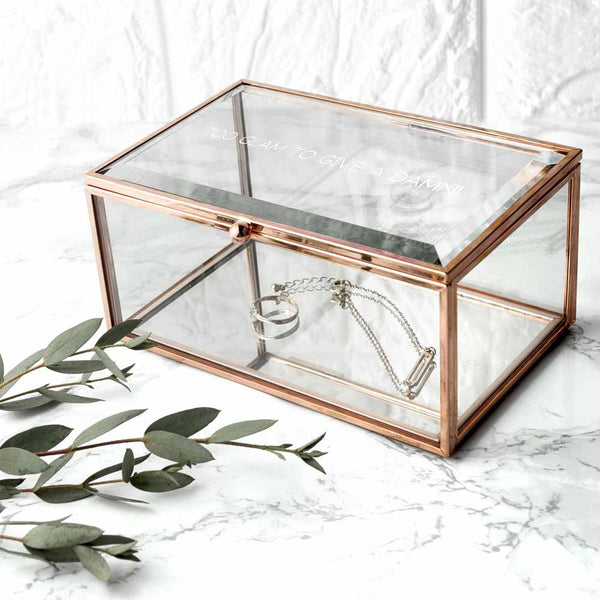 Rose Gold Glass Personalised Jewellery Box