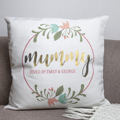 Mum's Personalised Floral Wreath Design Cushion Cover